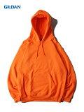 【即納】GILDAN ギルダン プルオーバー パーカー フード プレーン 無地 セーフティーオレンジ 蛍光色 ネオンカラー 8.0oz PLAIN PULLOVER HOODIE safety orange