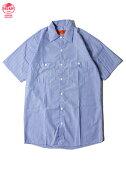 【あす楽】REDKAPレッドキャップワークシャツ半袖薄手4.5オンスストライプホワイト/GMブルーSTRIPES/SWORKSHIRTSgmblue/white
