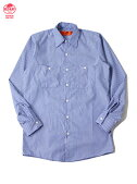 【インポート】REDKAPレッドキャップワークシャツ長袖無地ストライプ太ブルーL/SSTRIPESHIRTSgmblue