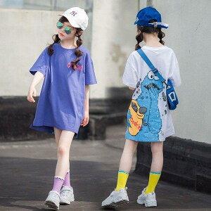 子供服 女の子 Tシャツ ワンピース キッズ 親子ペア 韓国子供服 ジュニア 夏 半袖 ロングT 子供ドレス dress カジュアル おしゃれ 可愛い 通学着 通園着