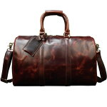 ボストンバッグ本革メンズ高級本革光沢旅行鞄レザー小旅行トラベルバング男女兼用旅行出張底鋲付き45cm機内持ち込みゴルフ鞄