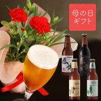 ┣ 5月11日・12日お届け ┫ 母の日ギフト【 カーネーション 鉢植 & クラフトビール 4種 飲み比べ 】地ビール 詰め合わせ 感謝ビール フルーツビール