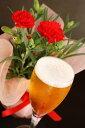 母の日ギフト 【<5月13日、14日のいずれかお届け>鮮赤のカーネーション鉢植 & 感謝ビール2種4本 】 送料無料