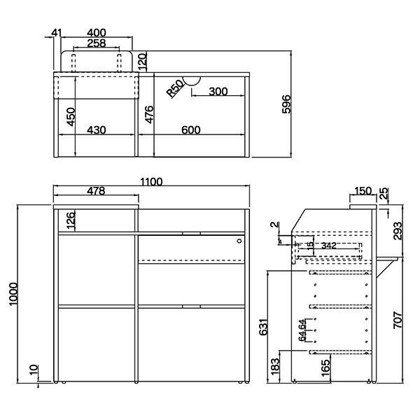 ■新製品 追加棚板付・大小各2枚セット レジカウンター レジ台 W1099 受付カウンター ワイド木製ホワイトRFRGCW-WH t1t2