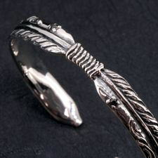 Silver925ダブルフェザーバングル/シルバーバングルブレスレットメンズバングルフェザーイーグルバッファローサンネイティブインディアンシルバー925送料無料