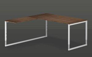 四角いフレーム脚を持つ美しいL型デスク。高さ調節(62〜85cm)が可能です。※連結天板の左右を...