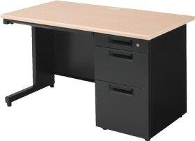 PLUSプラススチールデスク事務机オフィスデスクワークデスク幅120cm奥行き70cmSHデスク片袖机SH−127D−3木目/黒