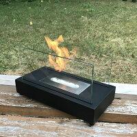 ガレージ・ゼロバイオエタノール暖炉長方形黒(屋内・屋外両用)/卓上暖炉/ファイアープレイス/卓上エタノール暖炉
