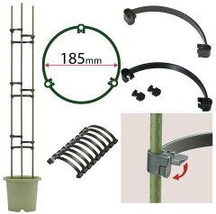 つる性植物や家庭菜園に/支柱の固定やオベリスクとして支柱ホルダーR-185型 9個入