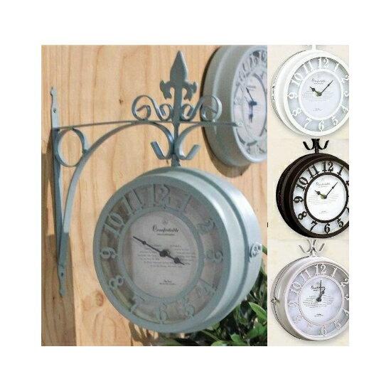 壁掛け両面時計OLD STREET BOTHSIDE CLOCK Lサイズ〜壁掛け時計 両面時計 ボスサイドクロック アンティーク NHE801LBR NHE801LWH〜