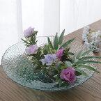 想い出映す水面 ガラス 水盤 花器 生け花 無料ラッピング 可 おしゃれ 日本製 フラワーベース 青森 津軽 職人 活花 生花 活け花 国産 器 ギフト 贈り物 プレゼント