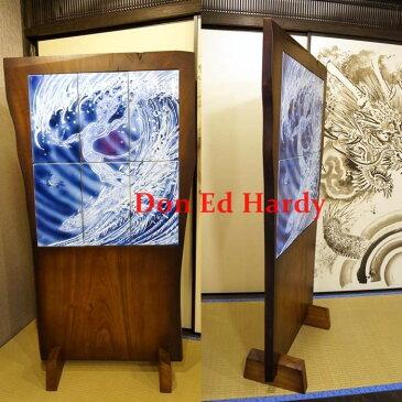 Don Ed Hardy ドン・エド・ハーディー 直筆 Surfing Devil mural 染付墨弾 龍板波乗悪魔文 陶壁画