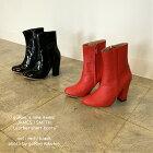 【JAMESlSMITH】【Leathershortboots】レザーショートブーツエナメルショートブーツインポートブーツ赤ブーツチャンキーヒールレディースブーツ送料無料