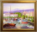 酒井健吉『ヌーシャテル港』油絵・油彩画 F20(20号)