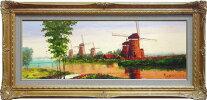 酒井健吉『風車風景のある風景』油絵WF4