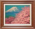吉田敏之『富士に桜』油絵・油彩画F6(6号)