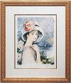ベルナール・シャロワ『海辺の帽子の少女』リトグラフ(石版画)