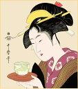 喜多川歌麿浮世絵 『難波屋おきた』新絹本プリント(印刷)色紙絵
