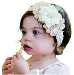赤ちゃんの、お花ヘッドアクセサリー★3つのお花がかわいいヘッドバンドです。より赤ちゃんを引き立ててくれます★babyacce★かわいいベビーアクセ★記念日★誕生日★お出かけ★メール便送料無料★