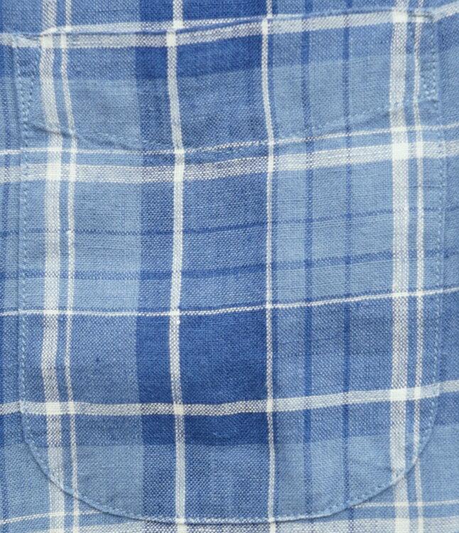 FAHERTY BRAND (ファリティ ブランド) リネン チェック シャツ ブルー 麻 メンズ 【あす楽】