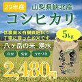 八ヶ岳・大泉高原産有機栽培低農薬コシヒカリ「八ヶ岳の米湧水」5kg(精米)【送料無料】