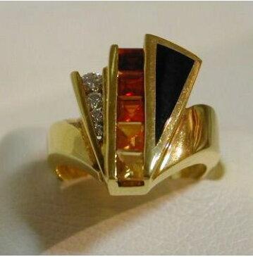 アメリカ製 メキシコオパール・ブラックジェイド・ダイヤモンド付き リング BH#6 【送料無料】