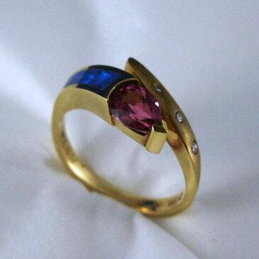 アメリカ製 ルベライト・ブラックオパール・ダイヤモンド付き リング #9611 【送料無料】