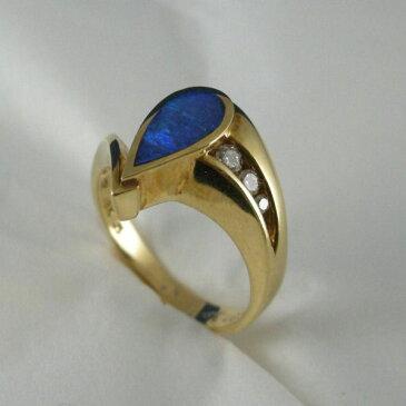 アメリカ製 ブラックオパール・ダイヤモンド付き リング #9774 【送料無料】