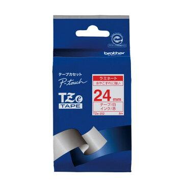【メール便対象】ブラザー P-TOUCH ピータッチ ラミネートテープ 24mm 白に赤文字 TZe-252