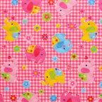 【メール便対象】キルティング生地 ゾウさん イラスト ピンク チェック 約100cm幅X50cmカット
