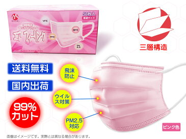販売再開!数量限定!GW期間も出荷できます。 女性用大人気マスク PM2.5対応 不織布マスク 3層構造 ウイルス対策 花粉99%カット 飛沫防止 咳エチット 防護マスク 50枚入 普通サイズ ピンク色 日本開発販売