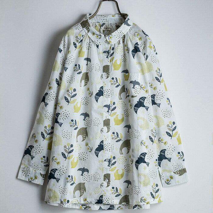 北欧鳥総柄ギャザーシャツ
