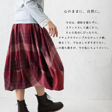 【パッチワークチェックバルーンスカート】レディース/ボトムス/スカート/ふんわり/大人の/秋冬/カジュアル/かわいい