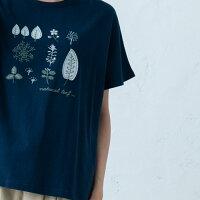 【はっぱパッチワークTシャツ】レディース/トップス/半袖/刺繍/葉っぱ/ロゴ/ナチュラル/カジュアル/ドルマンT/ゆったり/綿/アイボリー/マスタード/オリーブ/ネイビー/イマゴ