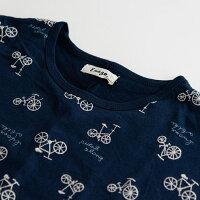 【自転車刺繍ドルマンTシャツ】レディース/トップス/半袖/ロゴ/ナチュラル/カジュアル/大人の/ゆったり/おおきめ/アイボリー/ブラック/イエロー/ネイビー