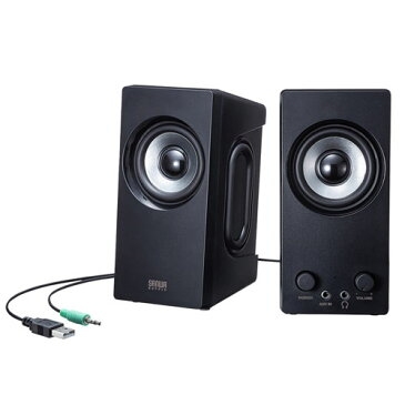 PCスピーカー USB電源 パッシブラジエーター 高音質 6W出力 ブラック MM-SPL16UBK サンワサプライ