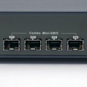 24ポートがGIGA対応のmini_GBICポート付き、レイヤー2_Webスマート_GIGAスイッチ(24ポート)_LAN-GIGASFP24
