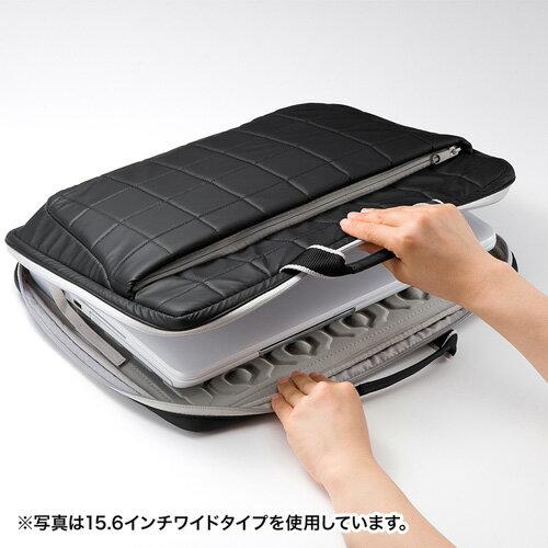 【訳あり 新品】パソコンケース(衝撃吸収タイプ・13.3型ワイドまで対応・ブラック) BAG-P21BK2 サンワサプライ ※箱にキズ、汚れあり