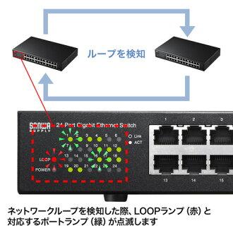 スイッチングハブ(Giga対応・最大24ポート・LAN・ループ検知機能付き)_LAN-GIGAH24L_サンワサプライ