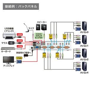 パソコン切替器(VGA・USB・PS/2対応・4:1・USB2.0ハブ・2ポートまで・自動・エミュレーション機能)_SW-KVM4HVCN_サンワサプライ