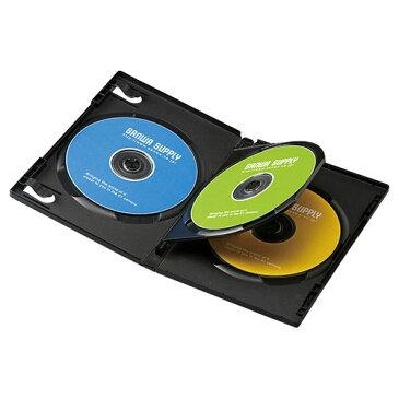 【訳あり 新品】【サンワサプライ】DVDトールケース(3枚収納・10枚パック・ブラック) ※箱にキズ、汚れあり