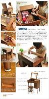 【送料無料】emo.ドレッサー&スツールセット【化粧台】【ウォールナット】【コスメ収納】【木製家具】【ミニデスク】