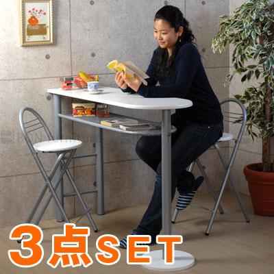 【 2,860円引き 】 机 チェア 椅子 セット 木製 白 ホワイト カウンターテーブル ダイニングテーブル リビングテーブル おしゃれ テーブル 折りたたみ イス 折り畳み カウンター キッチン 長方形 ハイ 一人暮らし 120 2人 3点セット