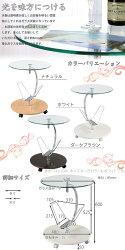 サイドテーブル・ガラス製・キャスター・おしゃれ・スリム・ソファ・ホワイト・ベッド・ミニ・ワゴン・収納・ナイトテーブル・ベッドサイド・ベッドサイドテーブル・キャスター付・ベッドテーブル・テーブル・天板・ガラス・丸・高さ・60cm・高さ60・白