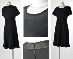 ◆小さいサイズ7号/9号/11号/13号大きいサイズ◆ノーカラージャケット美姿ブラックフォーマルスーツ・リボン付