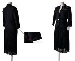 【あす楽】【RCP】9号/11号/13号/15号着回し美スタイル七分袖ジャケット&ふんわりプリーツスカート黒