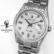 【中古】美品WG無垢ロレックスデイデイト118389AK番10P純正ダイヤ/彫コンベゼル・ラグ純正ダイヤメンズ自動巻き腕時計