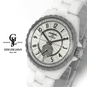 [Usado] Chanel J12 365 H3841 Brida de cerámica blanca / Pequeño segundo reloj de pulsera automático unisex con diamante genuino