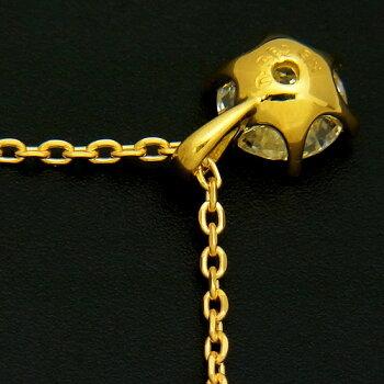 【新品】ラウンドブリリアントカット一粒ダイヤモンド0.382ctK18YGプチネックレス