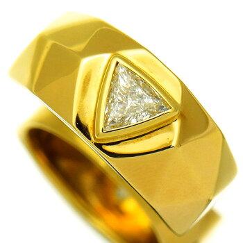 トリリアントカット一粒ダイヤモンド0.529ctK18YGメンズリング【】
